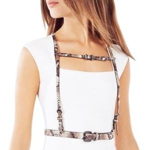 BCBGMAXAZRIA Snake Print Body Harness Belt